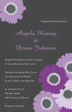 Lavender Floral Charcoal Wedding Shower Invitations