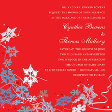 Red Winter Snowflakes Invitation