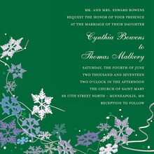 Green Winter Snowflakes Invitation
