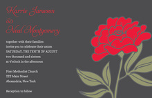Vintage Carnation In Classy Red Floral Invitations