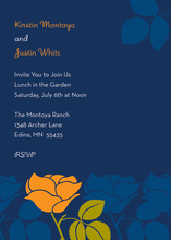 Showcasing Orange Retro Flower Medium Blue Invitation