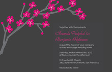 Modern Cherry Blossom In Charcoal Invitations