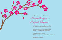 Classic Cherry Blossom In Sky Blue Invitations