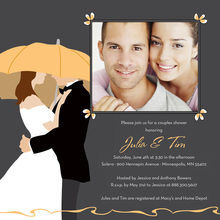 Orange Umbrella Love Square Wedding Invitations