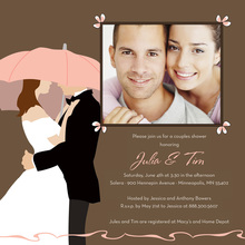 Pink Umbrella Love Square Wedding Invitations