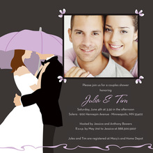 Lavender Umbrella Love Square Wedding Invitations