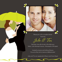 Green Lime Umbrella Love Square Wedding Invitations