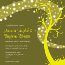 Whimsical Night Swirl Lime Square Wedding Invites