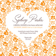 Heart In Bloom Orange Square Wedding Invitations