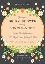Vintage Orange Floral Frame Accented Bridal Invites