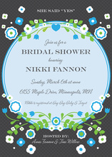 Vintage Blue Floral Frame Accented Bridal Invitations