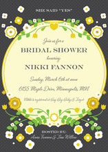 Vintage Yellow Floral Frame Accented Bridal Invites