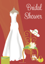 Bridal Dress Special Day Red Bridal Shower Invitations