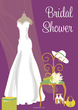 Bridal Dress Special Day Purple Bridal Shower Invites