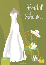Bridal Dress Special Day Green Bridal Shower Invites