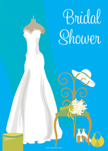 Bridal Dress Special Day Blue Bridal Shower Invites