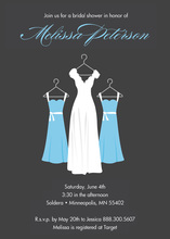 Beautiful Blue Bridesmaids Charcoal Bridal Invitations