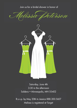 Fresh Green Waiting Dress Charcoal Bridal Invitations