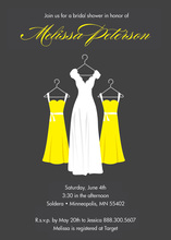 Modern Yellow Waiting Dress Charcoal Bridal Invites