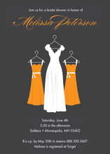 Sassy Orange Waiting Dress Charcoal Bridal Invitations