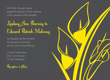 Lovely Silhouette Yellow Lilies Charcoal Invitations