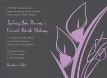 Modern Lavender Lilies In Charcoal Invitations