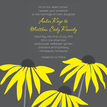 Yellow Daisies Charcoal Square Wedding Invitations