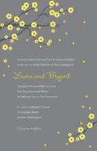 Unique Yellow Blossoms Grey Bridal Shower Invitations
