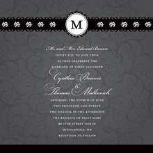 Black Flourish Formal Monogram Wedding Invitations