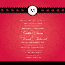 Modern Red Flourish Monogram Design Invitations