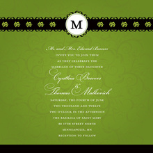 Formal Green Flourish Initial Wedding Invitations