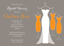 Three Orange Gown Modern Dresses Bridal Invitations