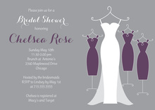 Purple Bridal Gown Wedding Dresses Invitations