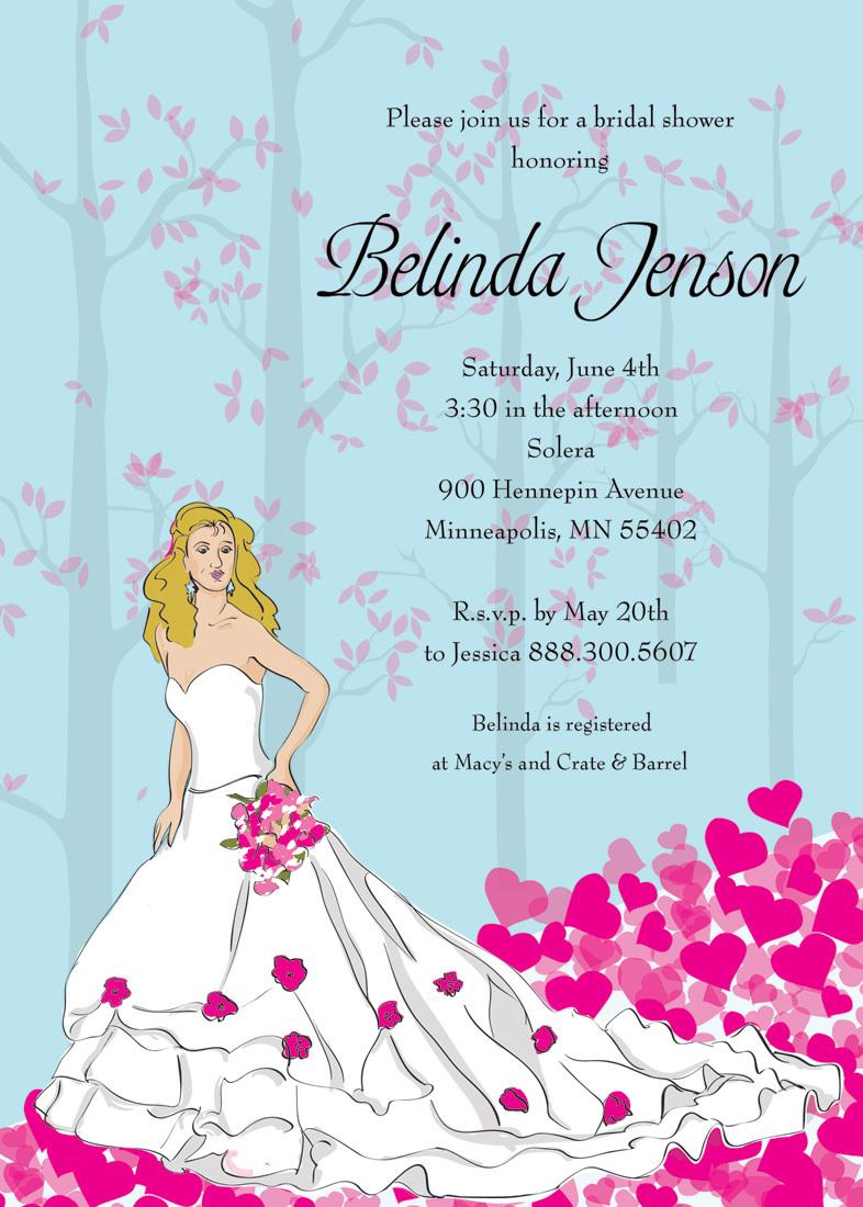 Blonde Bride Shower Pink Invitations