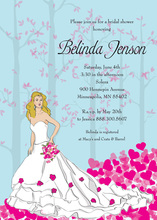 Fairy Tale Blonde Bride Shower Pink Shower Invitations