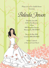 Fairy Tale Black Haired Bride Shower Bridal Invites