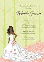 Fairy Tale African American Bride Bridal Shower Invites