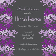 Bright Blooms Lavender-Charcoal Square Wedding Invites