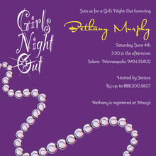 Fun Pearls Feminine Purple Bridal Shower Invitations