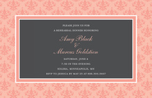 Formal Pink Damask Border Elegant Party Invitations