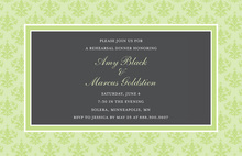 Elegant Sage Damask Formal Border Invitations
