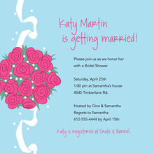 Catch Pink Bridal Bouquet In Blue Wedding Invitations