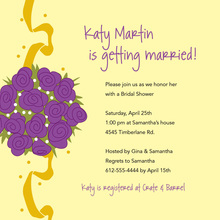 Catch Purple Bridal Bouquet Yellow Wedding Invitations