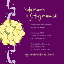 Catch Yellow Bridal Bouquet Purple Wedding Invitations