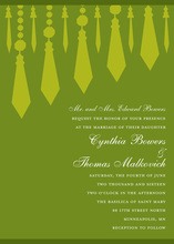 Retro Chandelier Green Invitation