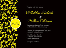Formal Bright Yellow Vines Dark Black Monogram Invites