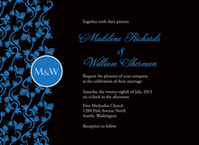 Formal Medium Blue Vines Wedding Invitations