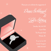 Modern Pink Wedding Ring Engagement Invitations