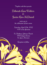 Yellow Honeysuckle In Purple Wedding Invitations