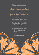 Orange Honeysuckle Charcoal Wedding Shower Invites